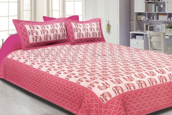 Pink Border Pink Elephant Pattern Screen Print Cotton Double Bed Sheet