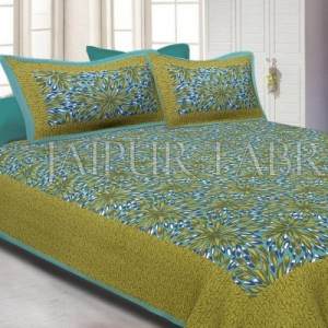 Sea Green Border Green Base Flower Pattern Cotton Double Bed Sheet