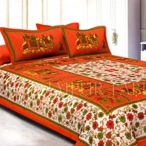 Orange Border Cream Base Barat Pattern Cotton Double Bed Sheet