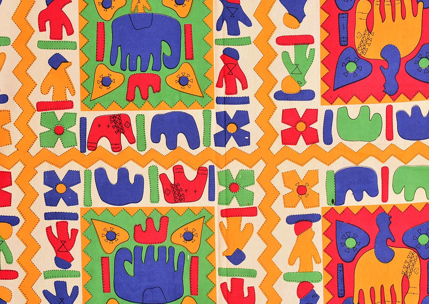 Yellow boarder elephant pattern with parrot green and yellow colour double bed sheet