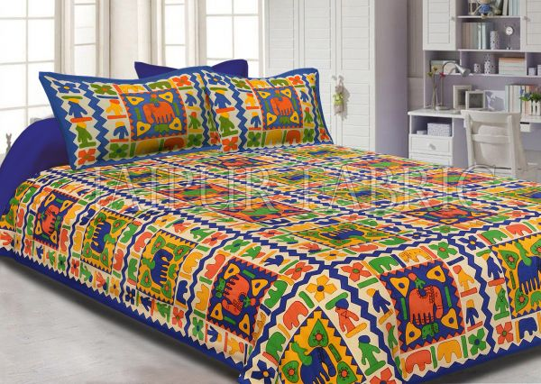 Navy Blue boarder elephant pattern with parrot green and yellow colour double bed sheet