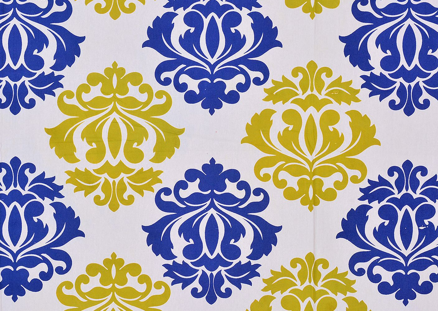 Navy Blue boader cream base with floral pattern double bed sheet