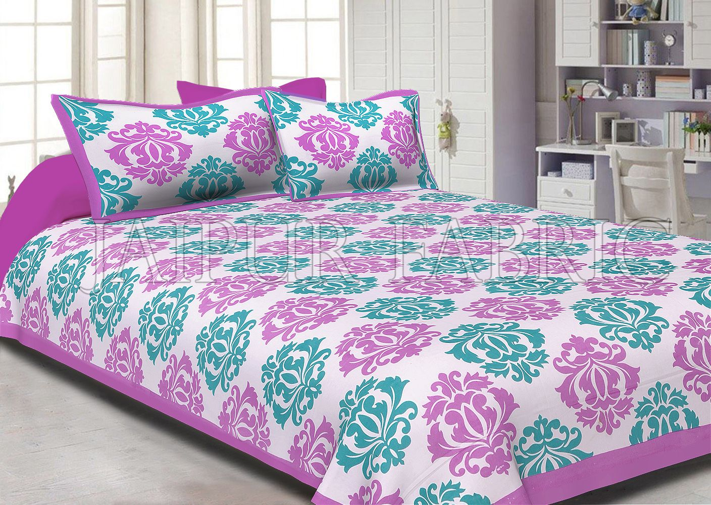 Violet boarder cream base with floral pattern double bed sheet