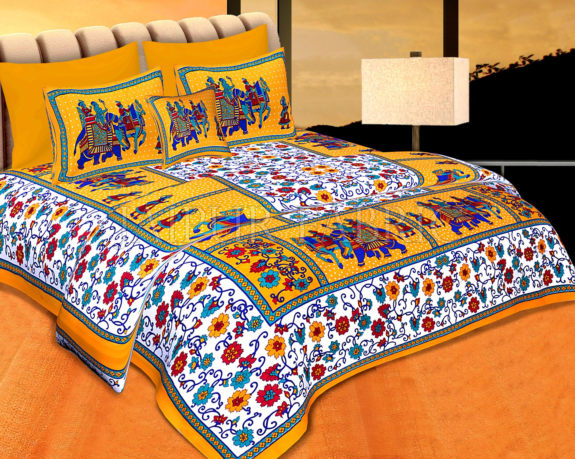 Yellow boarder with barat pattern double bed sheet