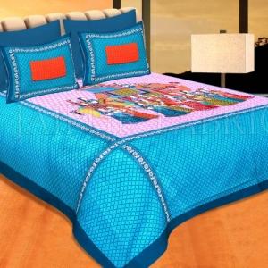 "Navy Blue Border With Cream Base ""Shahi Sawari"" With Elephant Pigment Print Cotton Double Bedsheet"