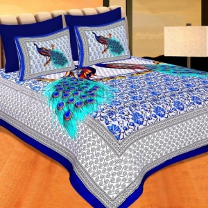 Blue Border Indigo Blue Two Large Peacock Pigment Print Cotton Double Bedsheet