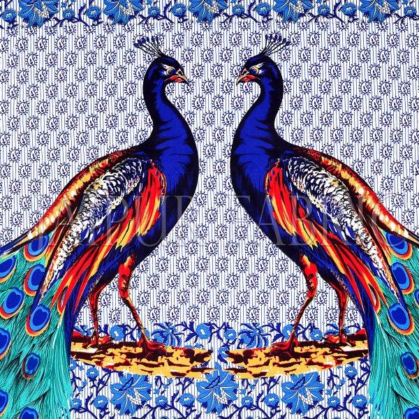 Blue Border Indigo Blue Two Large Peacock Pigment Print Cotton Double Bedsheet