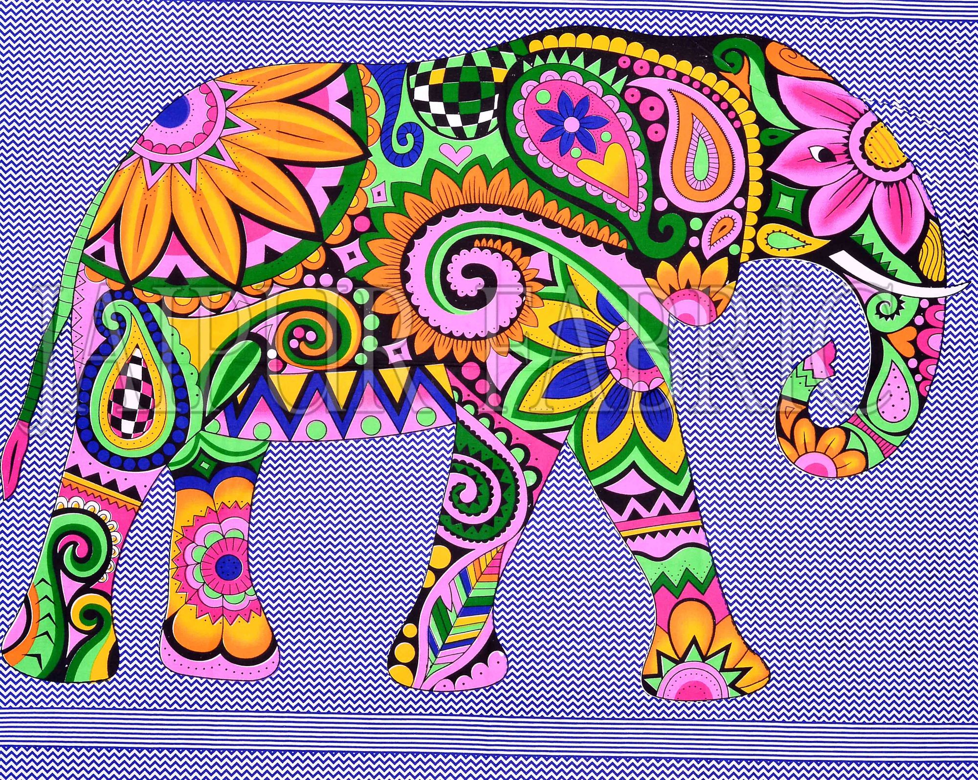 Navy Blue Border With Multi-Colored Elephant Pigment Print Cotton Double Bedsheet