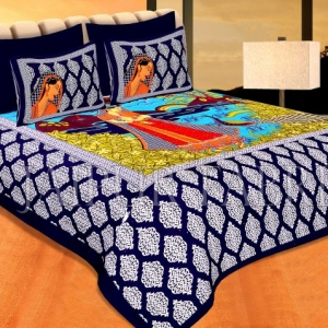 Navy Blue Border Lady With Peacock Pigment Print Cotton Double Bedsheet