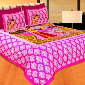 Pink Border Lady With Peacock Pigment Print Cotton Double Bedsheet