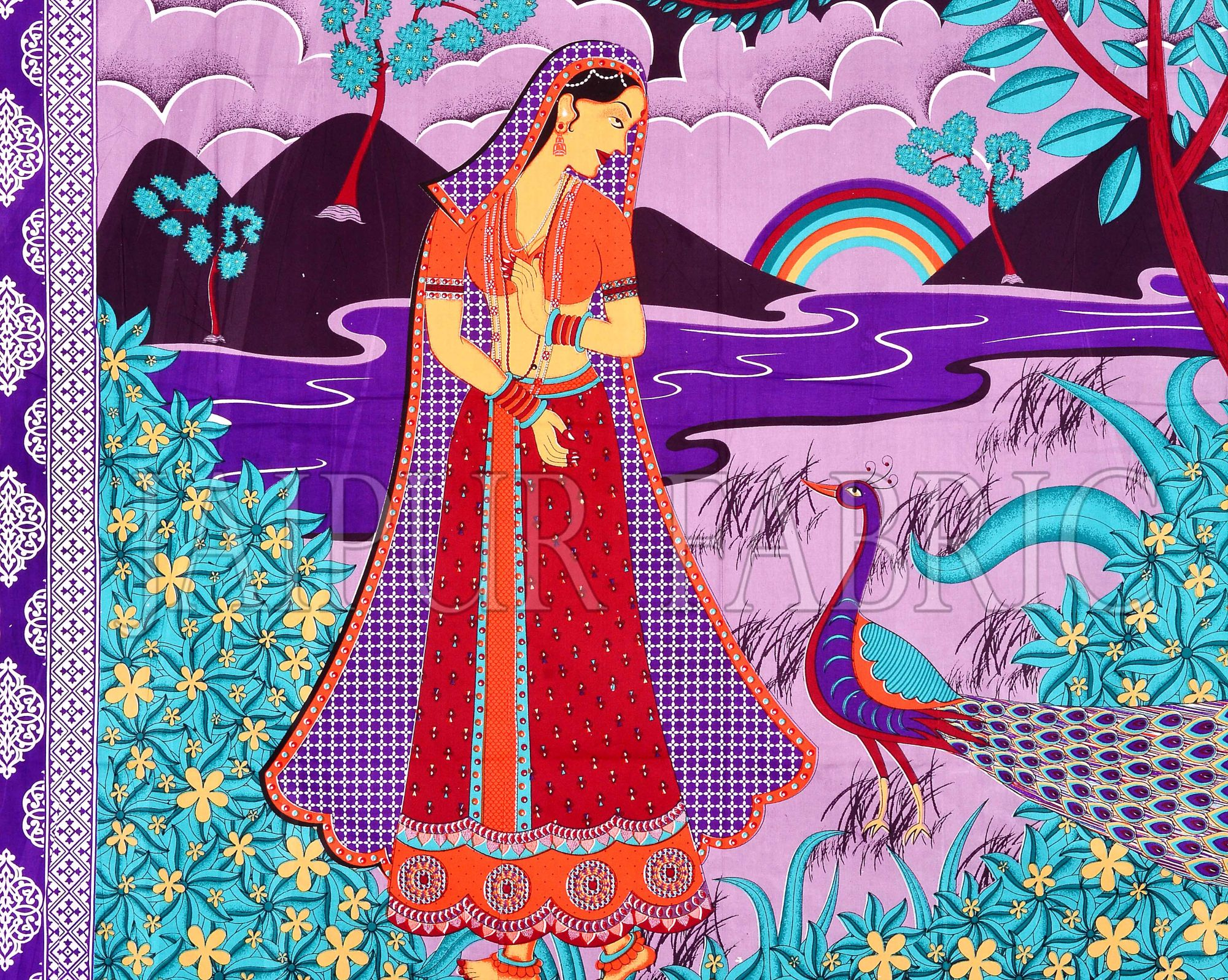 Purple Border Lady With Peacock Pigment Print Cotton Double Bedsheet