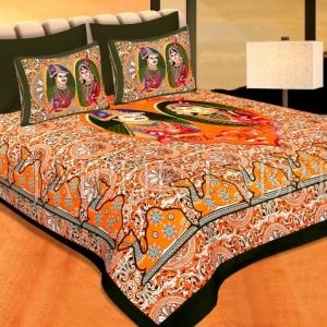 Green Border Orange Base With Raja-Rani Print Pigmet Print Cotton Double Bedhseet
