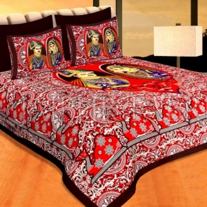 Coffe Color Border Red Base With Raja-Rani Print Pigment Cotton Double Bedsheet