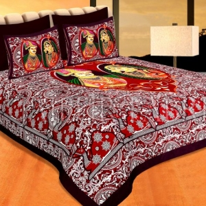 Brownish Maroon Border With Maroon Base Raja-Rani Print Pigment Cotton Double Bedsheet