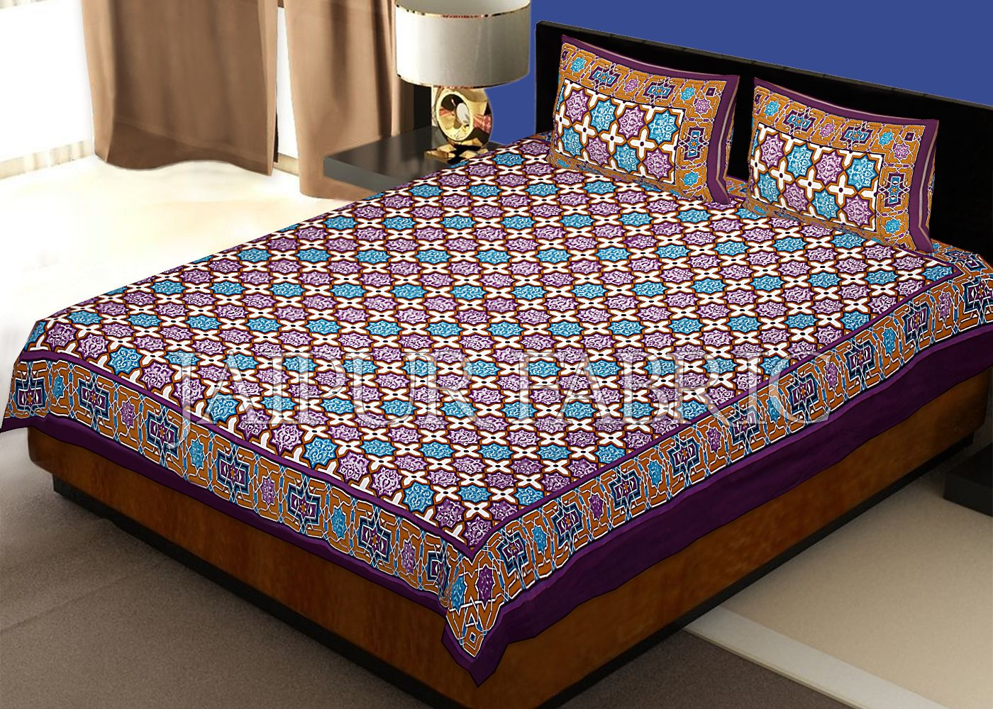 Maroon Base Plus Design Screen Print Cotton Double Bed Sheet