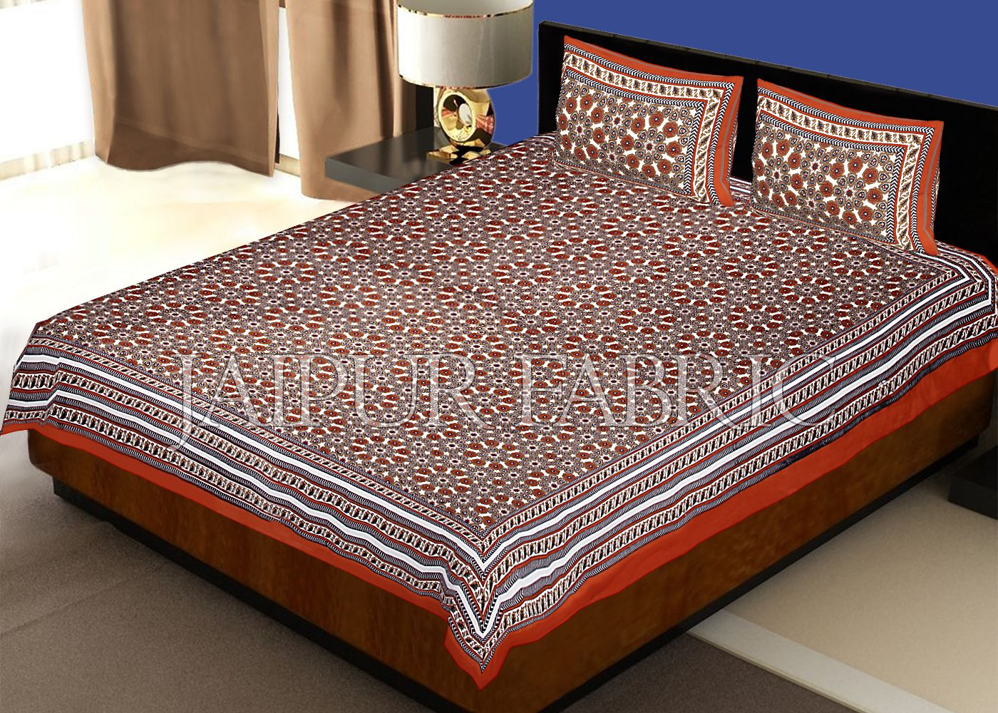 Brown Border Brown Base Screen Print Cotton Double Bed Sheet