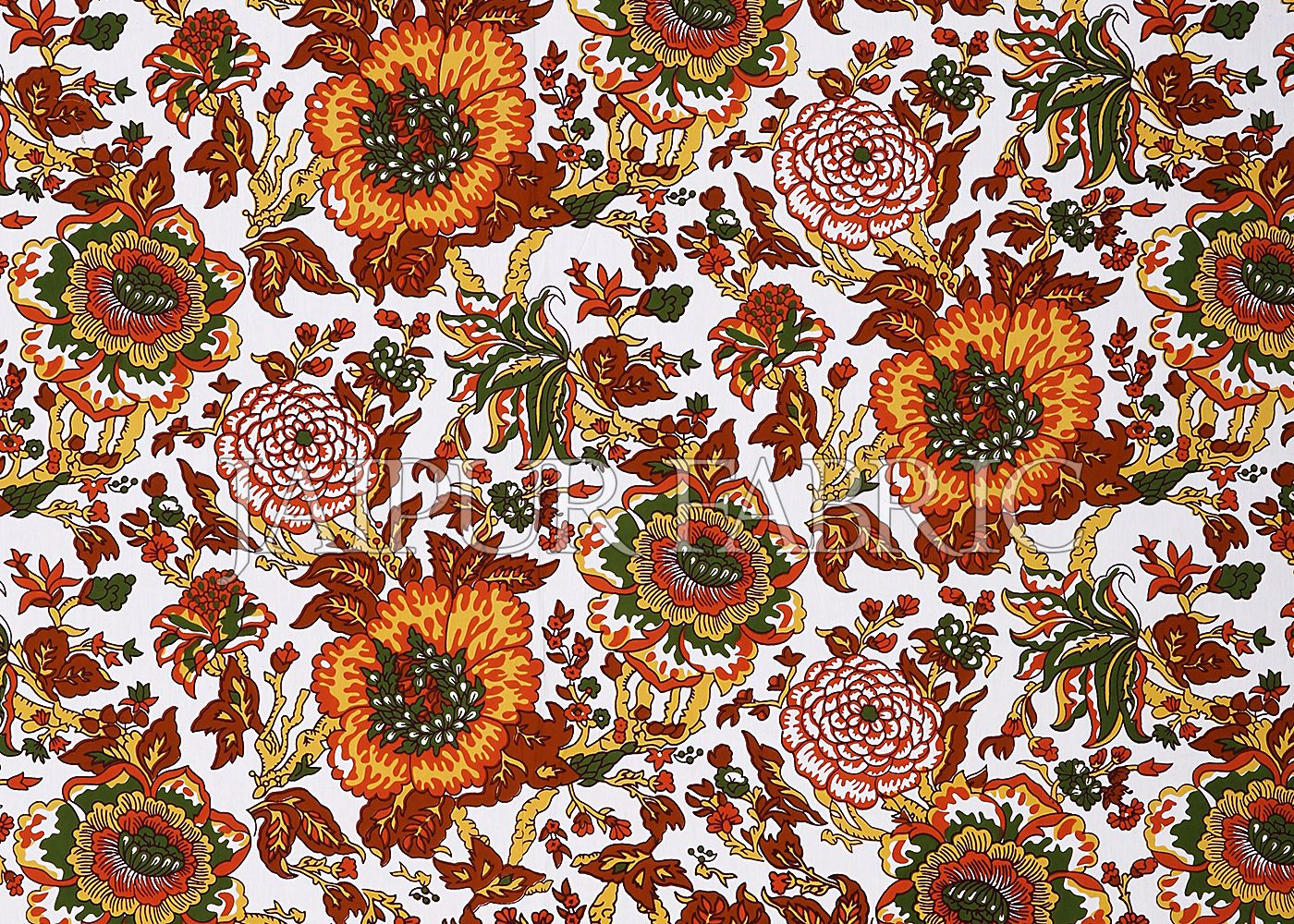 Brown Border Flower Pattern Screen Print Double Bed Sheet