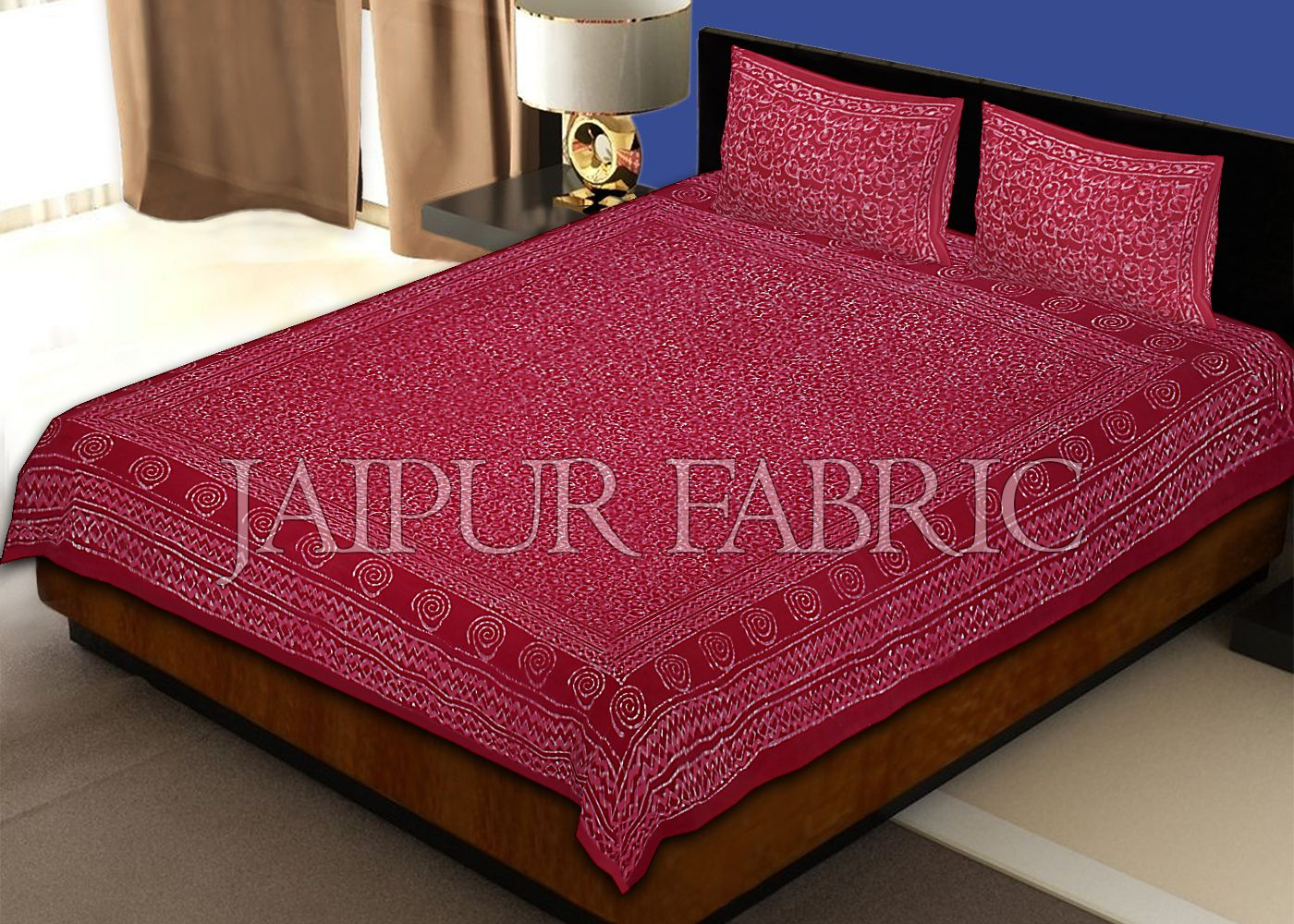 Maroon Border Leaf Pattern Dhabu Print Cotton Double Bed Sheet