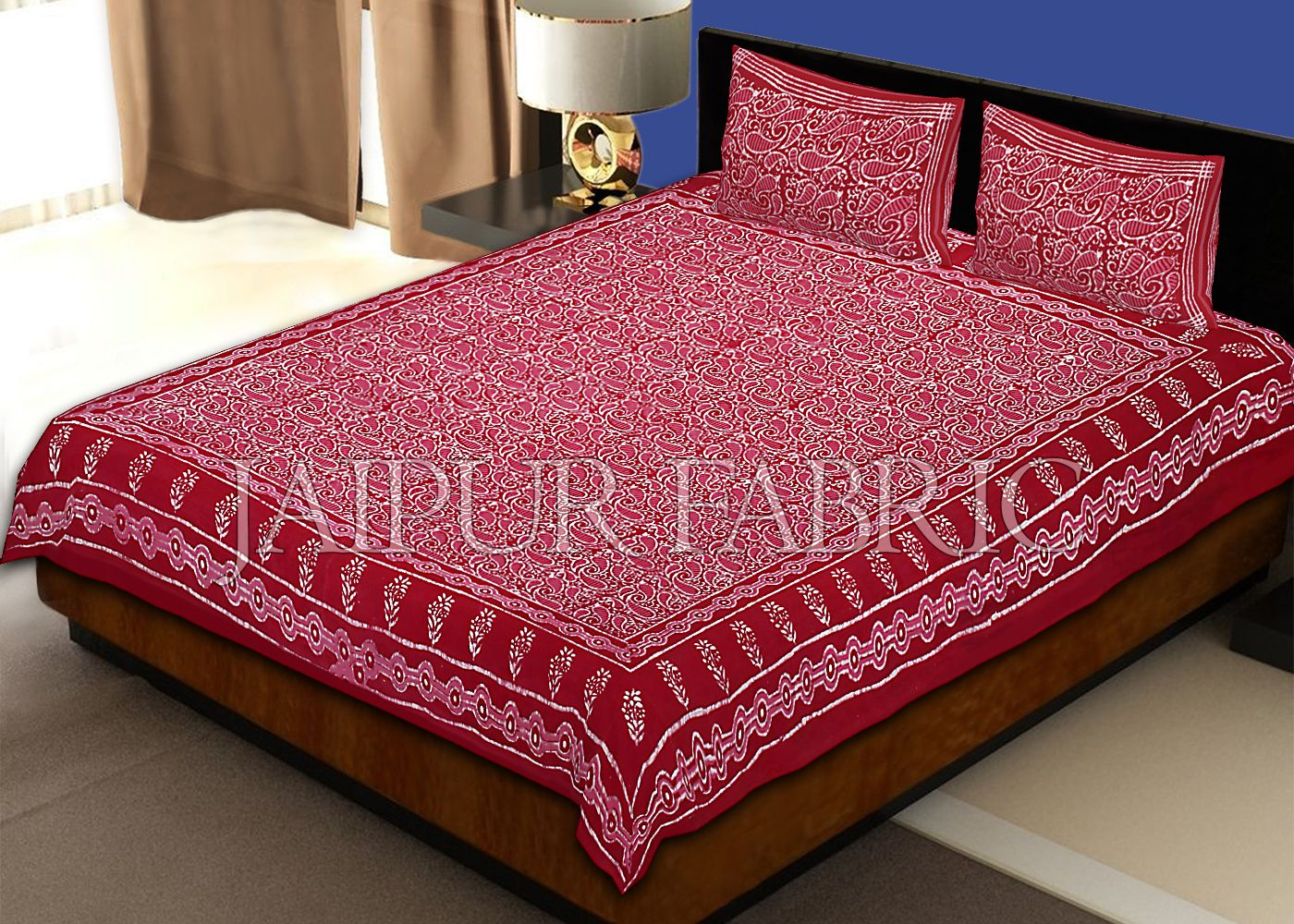 Maroon Border Floral Pattern Dhabu Print Cotton Double Bed Sheet