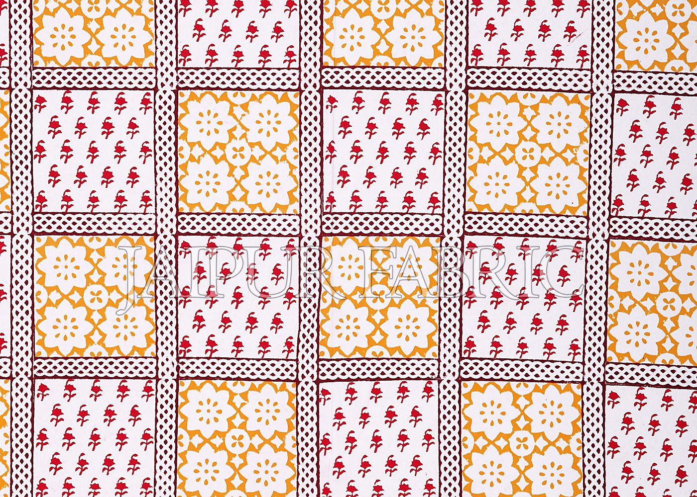 Red Border Square Pattern Block Print Cotton Double Bed Sheet