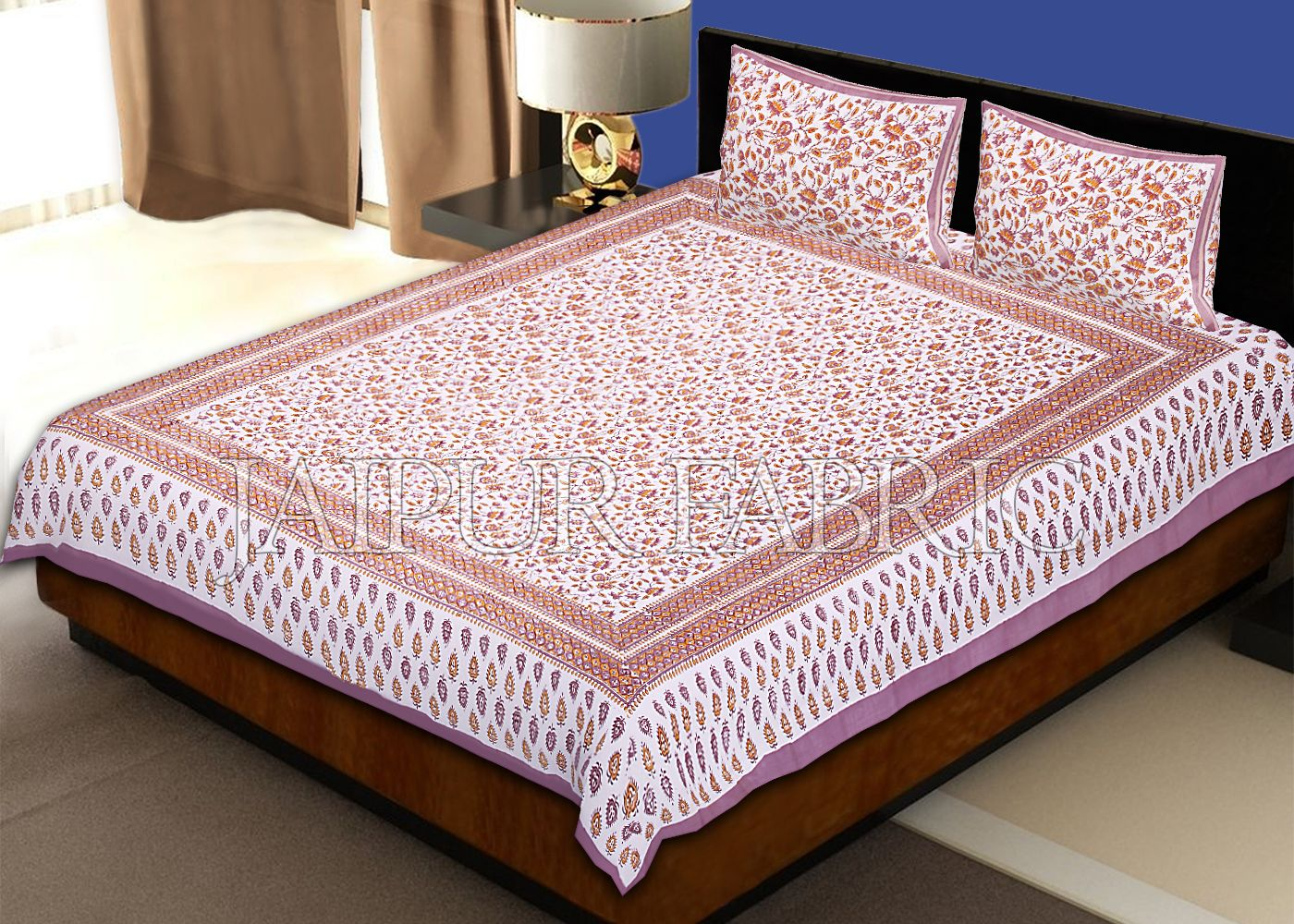 Purple Border White Base Floral Pattern Block Print Cotton Double Bed Sheet