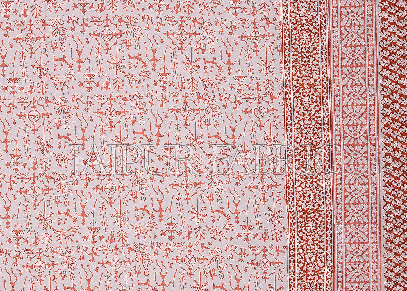 Orange Border Tropical Pattern Block Print Cotton Double Bed Sheet