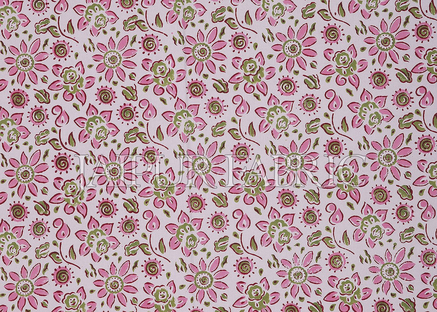 Pink Border White Base Leaf Pattern Block Print Cotton Double Bed Sheet
