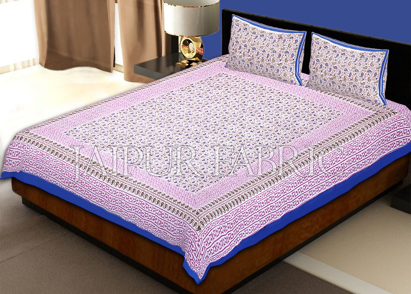 Blue Border Tropical Pattern Block Print Cotton Double Bed Sheet