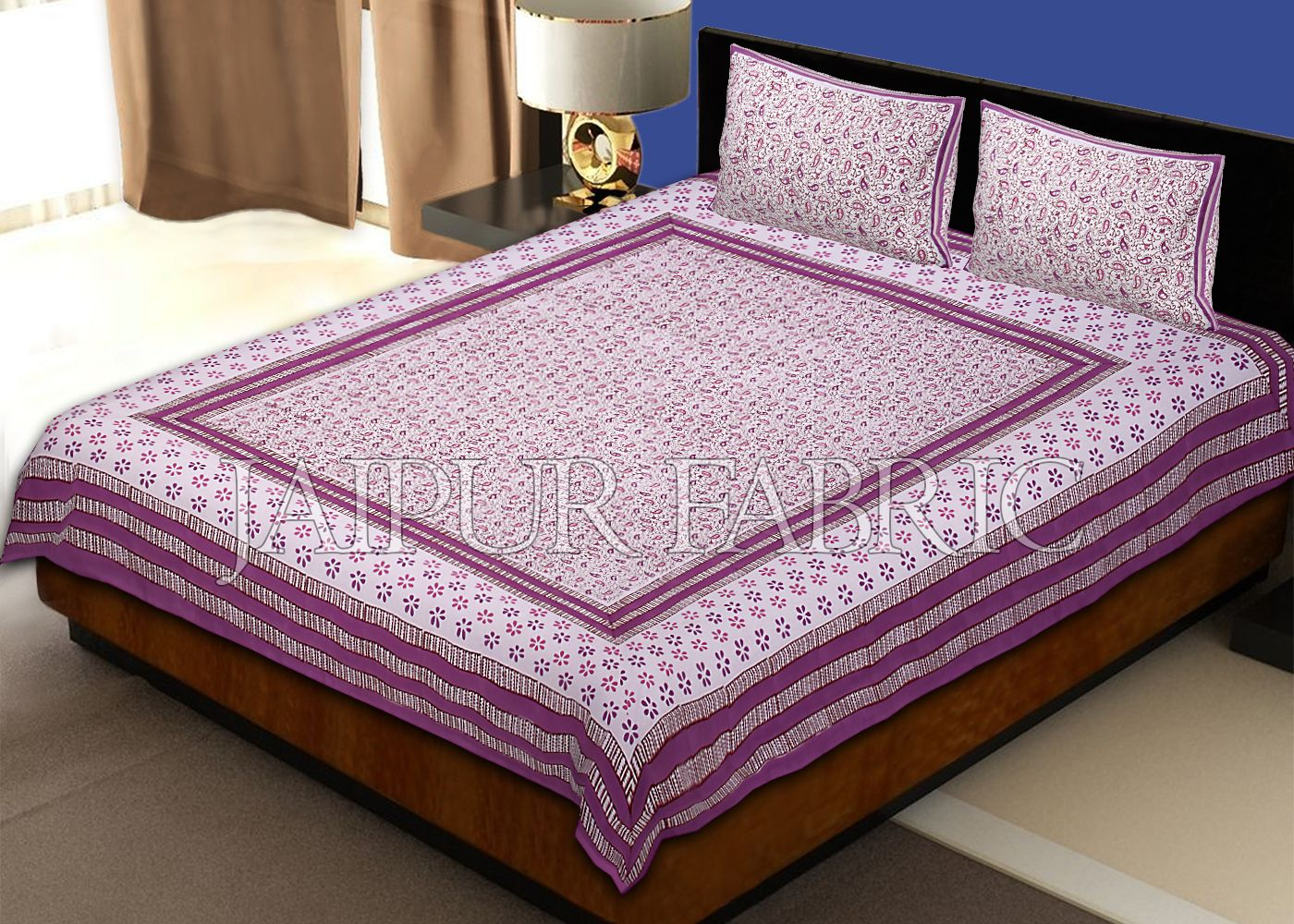 Pink Border Multi Color Floral Pattern Block Print Cotton Double Bed Sheet