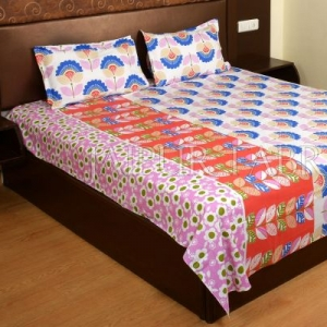 Blue and Orange Floral Print Cotton Double Bed Sheet