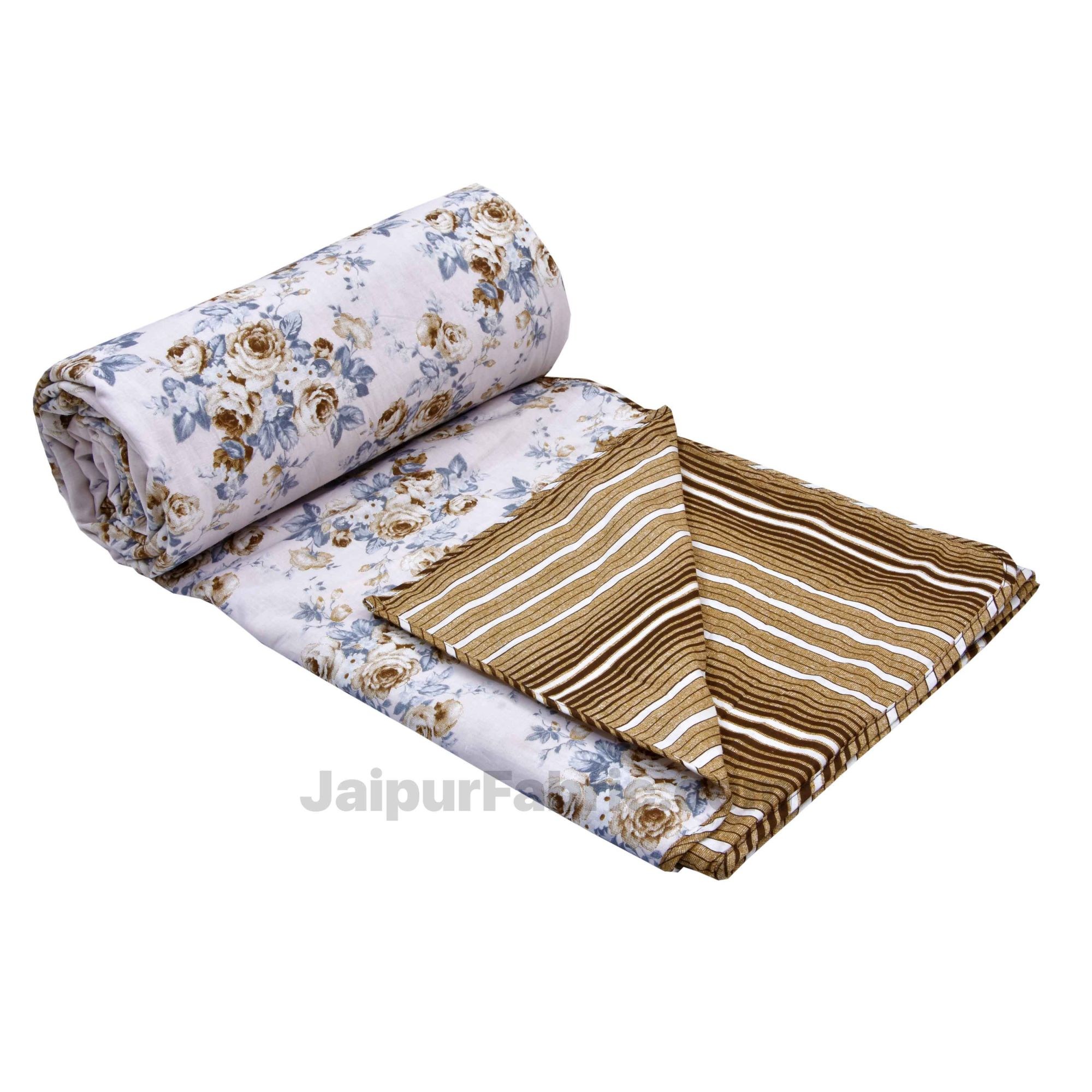 Flowers Bunch Brown Cotton Soft Touch Reversible Single Bed Dohar/Blanket