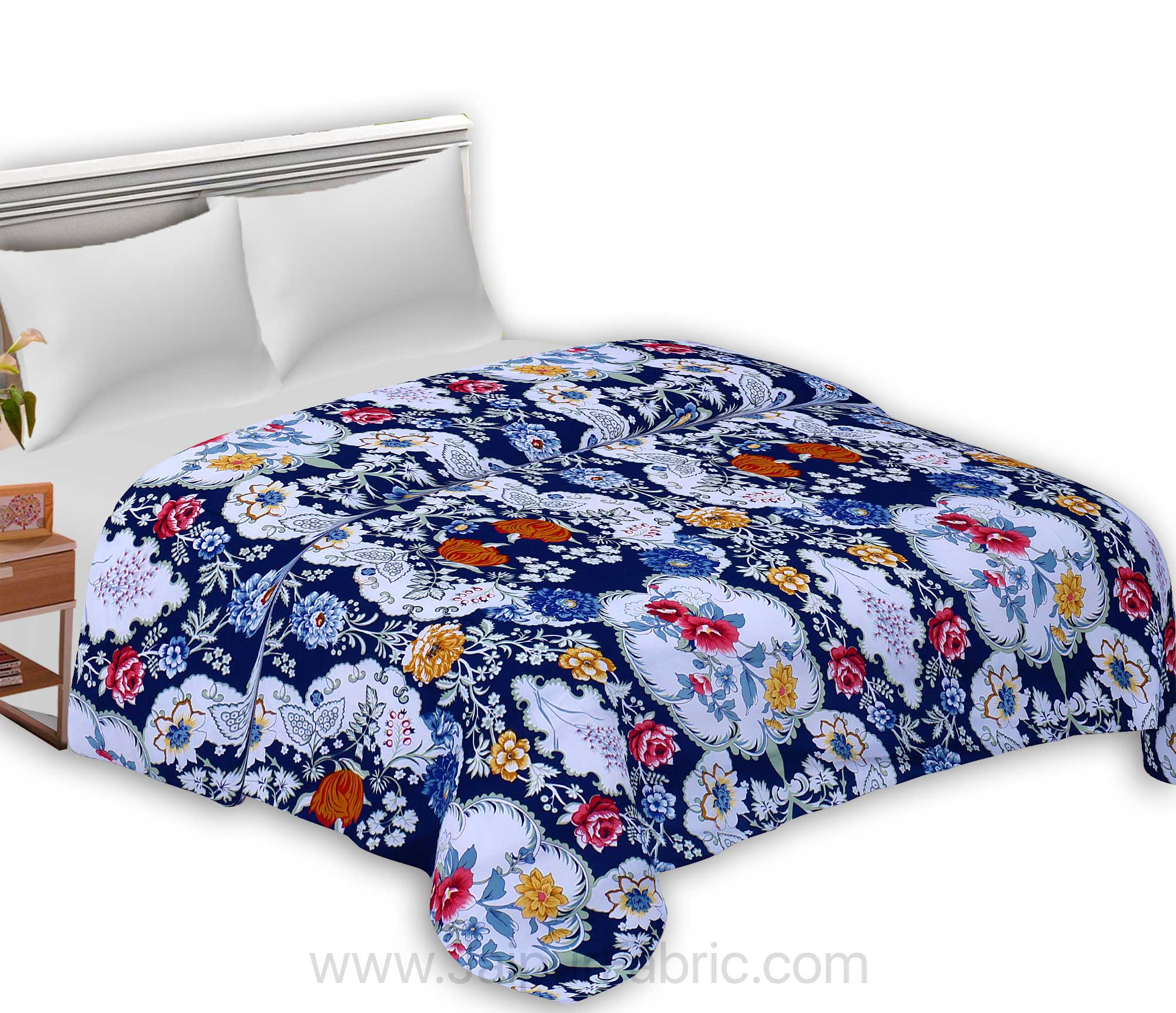 Micro Cotton Navy Blue Decorative Reversible Double Blanket/Duvet/Quilt/AC Dohar