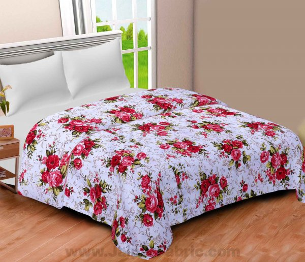 Micro Cotton White Red Roses Reversible Double Blanket/Duvet/Quilt/AC Dohar