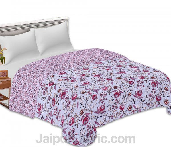 Pure Cotton Refreshing Floral Reversible Double Bed Blanket/ Duvet/Quilt/AC Dohar