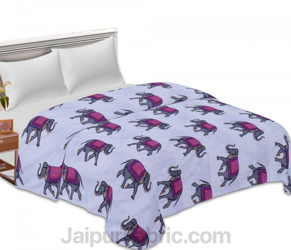 Pure Cotton Elephant Print Reversible Double Bed Blanket/ Duvet/Quilt/AC Dohar