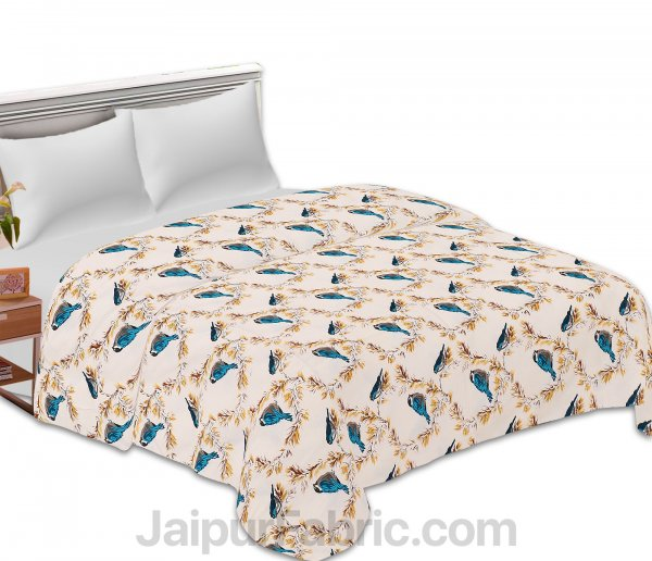 Pure Cotton Indian Bird Reversible Double Bed Blanket/ Duvet/Quilt/AC Dohar
