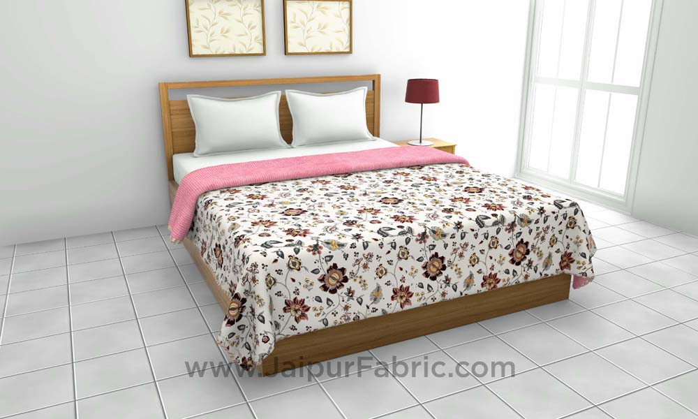 Pure Cotton Pink Floral Pattern Reversible Double Bed Dohar