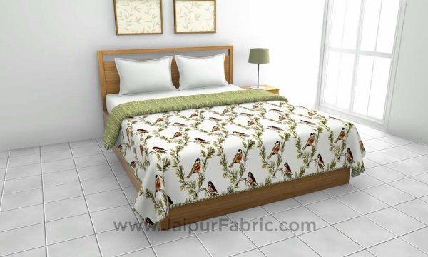 Pure Cotton Green Indian Bird Pattern Reversible Double Bed Dohar
