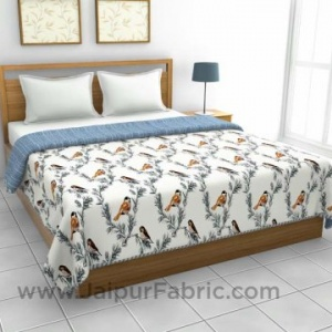 Pure Cotton Blue Indian Bird Pattern Reversible Double Bed Dohar