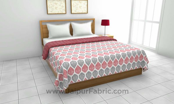 Pure Cotton Maroon Ethnic Pattern Reversible Double Bed Dohar
