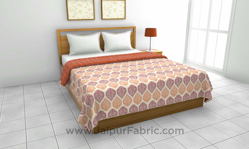 Pure Cotton Orange Ethnic Pattern Reversible Double Bed Dohar