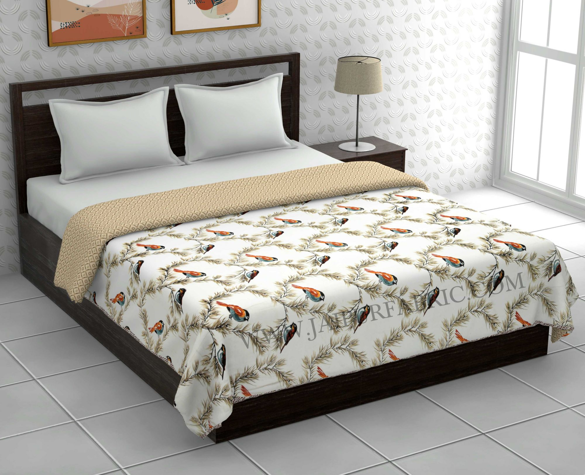 Pure Cotton Brown Indian Bird Pattern Reversible Double Bed Dohar