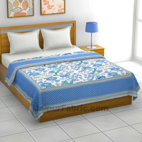 Lightweight Reversible Double Bed Dohar Blue Gala Flowers Skin Friendly Pure Cotton MulMul Blanket / AC Comforter / Summer Quilt