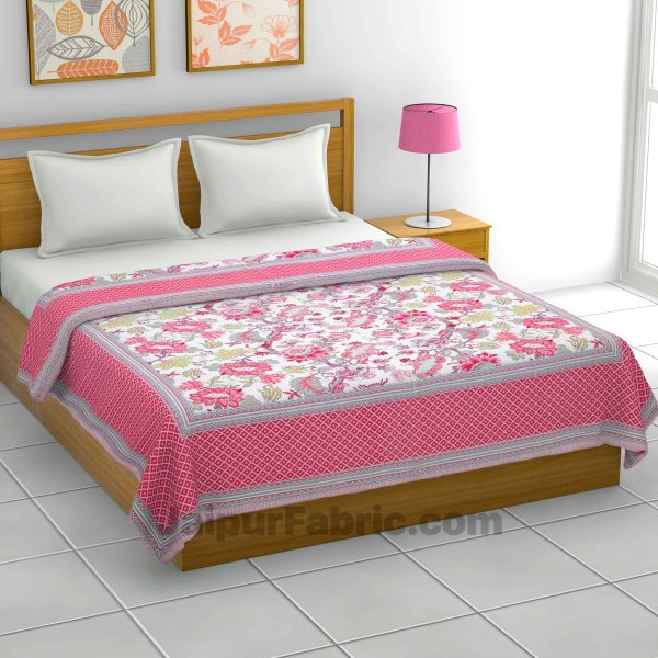 Lightweight Reversible Double Bed Dohar Pink Gala FlowersSkin Friendly Pure Cotton MulMul Blanket / AC Comforter / Summer Quilt