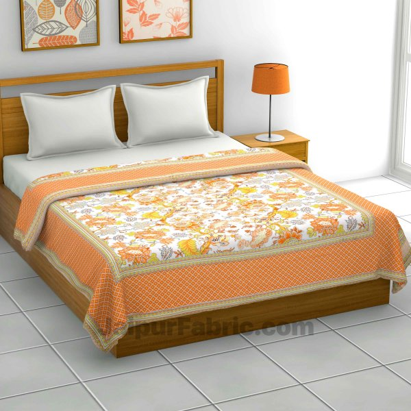 Lightweight Reversible Double Bed Dohar Orange Gala FlowerSkin Friendly Pure Cotton MulMul Blanket / AC Comforter / Summer Quilt