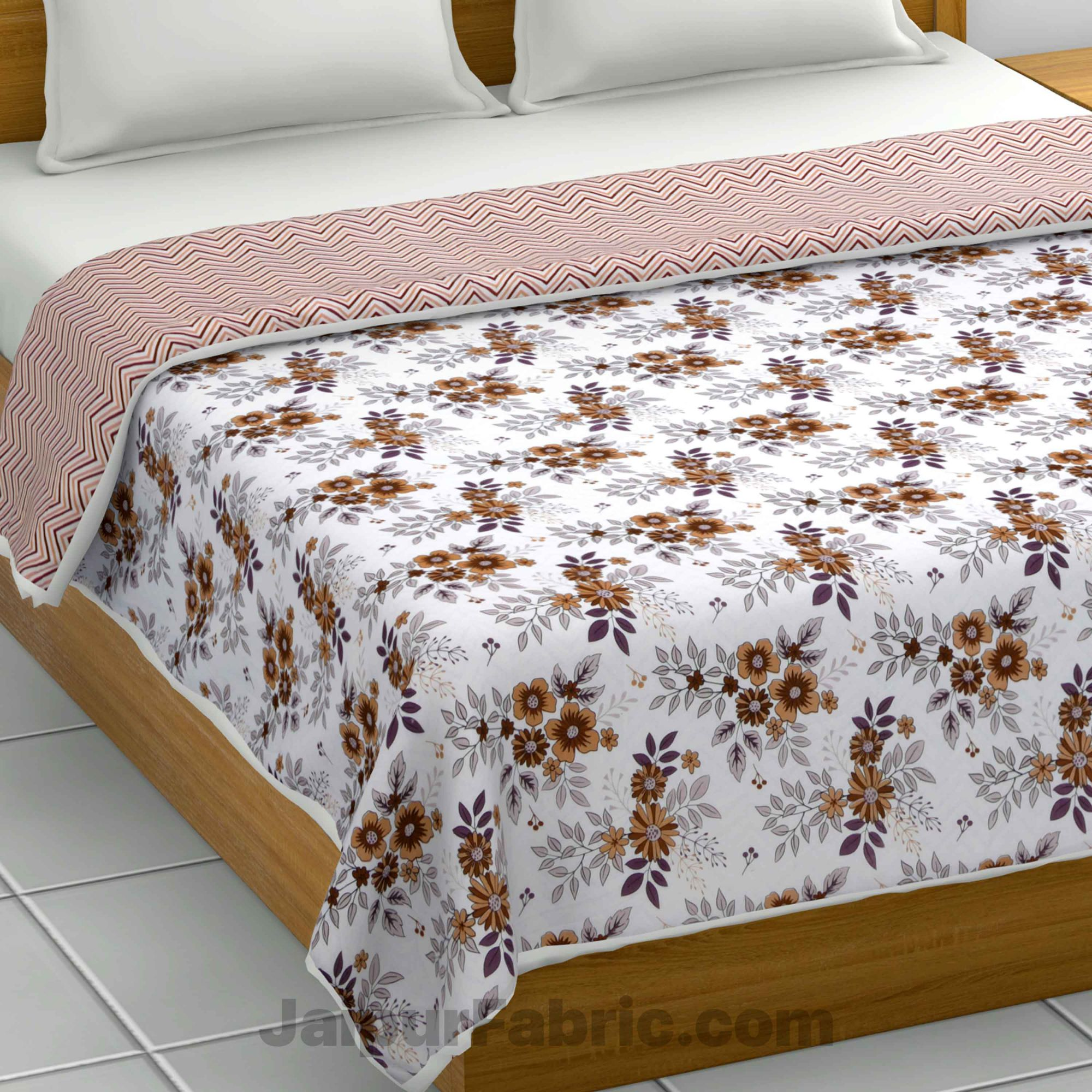 Lightweight Reversible Double Bed Dohar Grey FlowerSkin Friendly Pure Cotton MulMul Blanket / AC Comforter / Summer Quilt