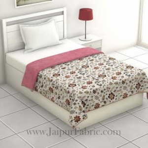 Pure Cotton Pink Floral Pattern Reversible Single Bed Dohar