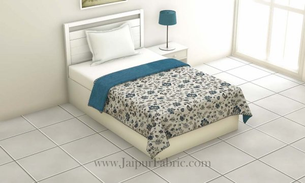 Pure Cotton Blue Floral Pattern Reversible Single Bed Dohar