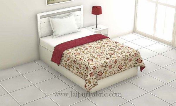 Pure Cotton Red Floral Pattern Reversible Single Bed Dohar