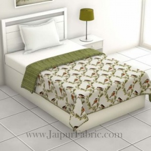 Pure Cotton Green Indian Bird Pattern Reversible Single Bed Dohar